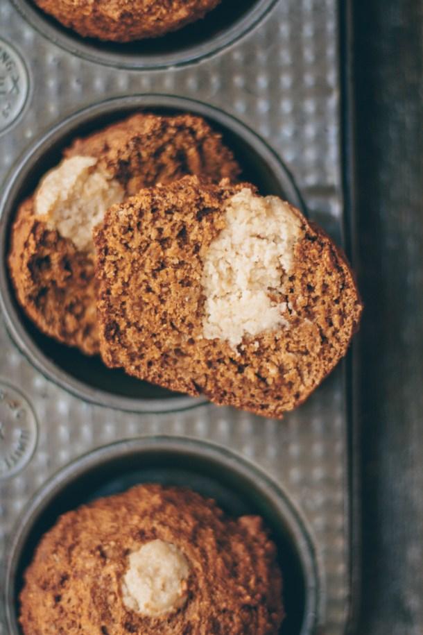 Vegan Cream Cheese-Filled Banana Muffins