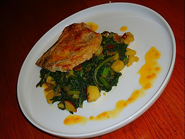 Pork Chops with Garlic Orange Reduction and Sautéed Mustard Greens with Potatoes (3/6)