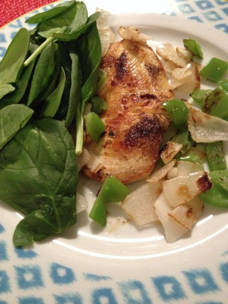 grilled chicken with sauteed onions and green peppers