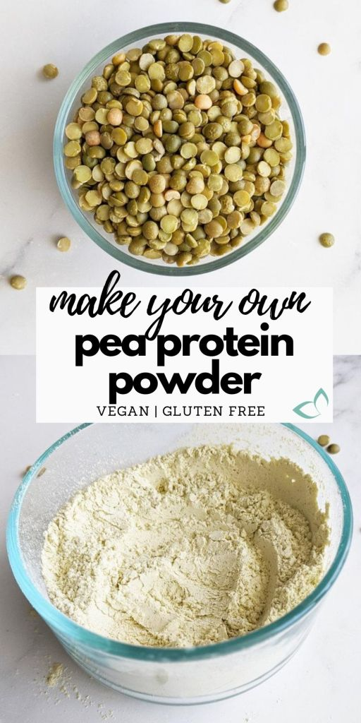 Make protein powder at home with just one ingredient and 15 minutes. It's naturally vegan, allergen friendly, and great to add to smoothies, baked goods, and sauces. You can even customize it with additional flavors. It's easy and affordable to make your own vegan protein powder at home! #veganprotein #peaprotein #diyproteinpowder #howtomakeproteinpowder #plantbasedprotein