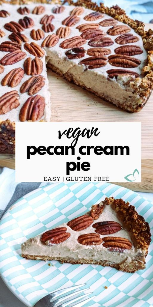 This Vegan Pecan Cream Pie is not only incredibly delicious but it's also gluten-free, oil-free, refined sugar-free, and made with only 9 healthy ingredients! It's so easy to make and the perfect dessert recipe to have on your holiday menu. It's a healthier, lighter, and fluffier version of traditional pecan pie but so irresistible you'll be wanting seconds. #pecanpie #easypecanpie #vegandessertrecipe #homemadepecanpie