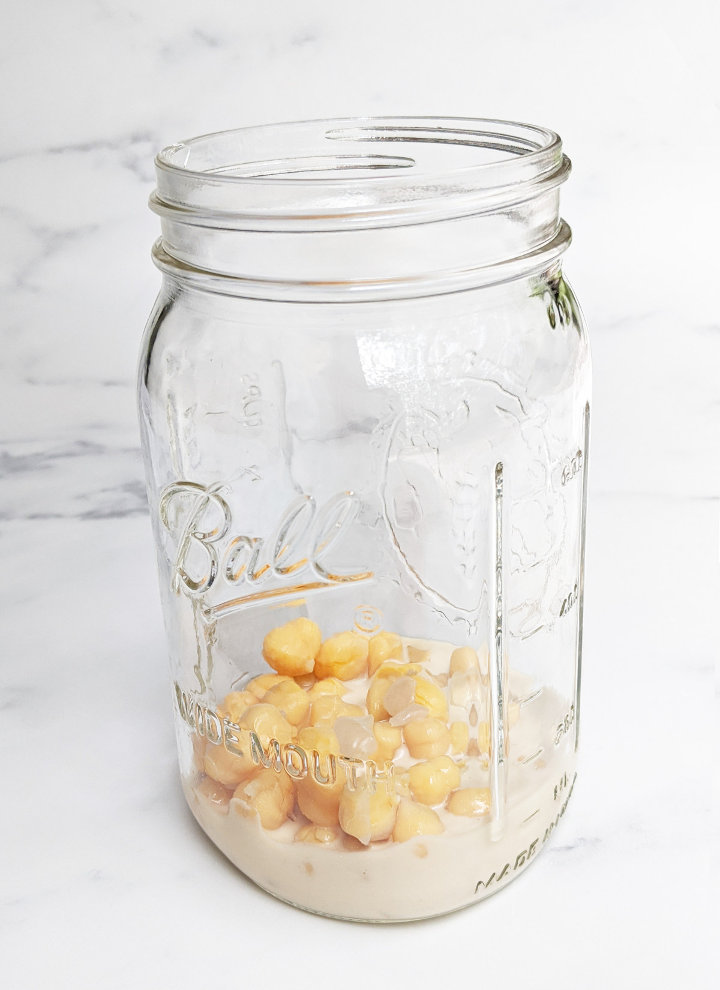 Sweet Potato & Chickpea Mason Jar Salad with Maple Tahini Dressing