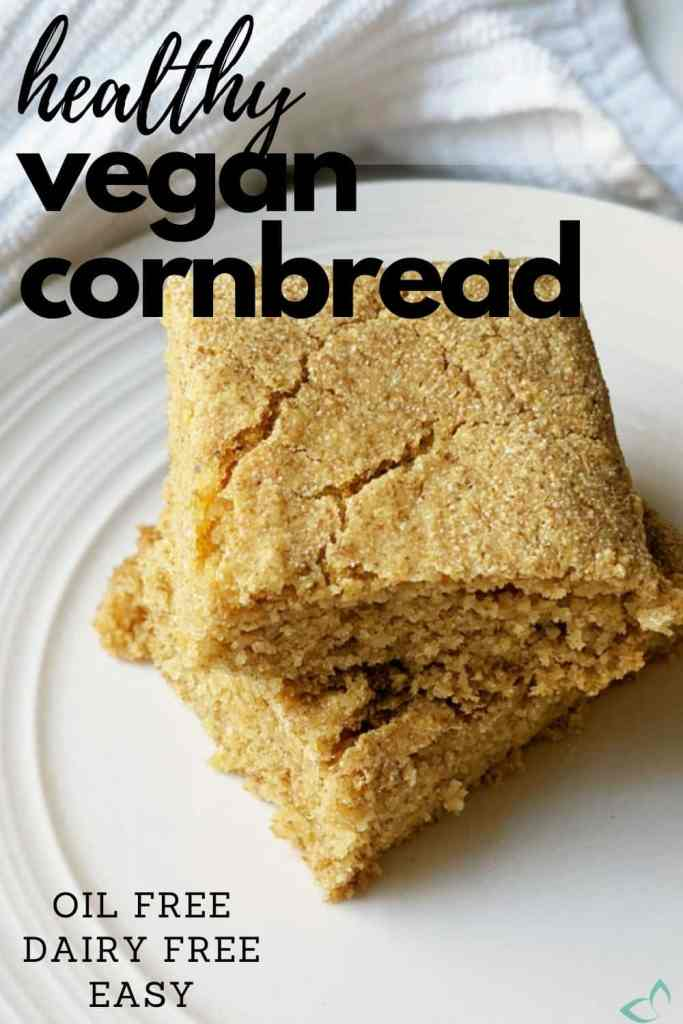 This healthy vegan cornbread recipe is easy requiring only 8 ingredients. It's also gluten free, oil free, and refined sugar free, yet incredibly delicious! Homemade cornbread is the best and this recipe does not disappoint! Vegan cornbread | healthy cornbread recipe | vegan thanksgiving | healthy vegan side dish #vegancornbread #plantbasedcornbread