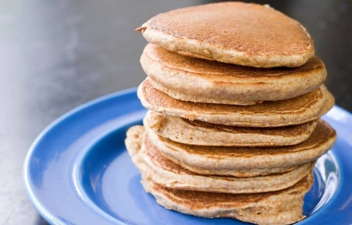 stack of pancakes on a blue plate