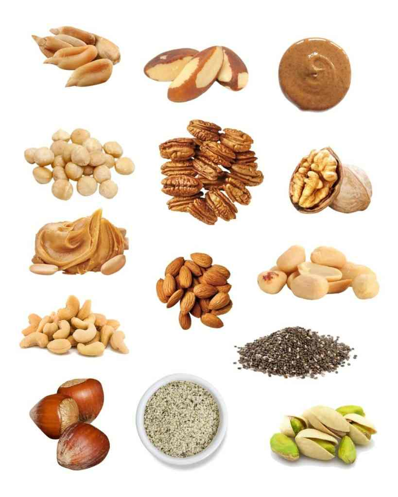 collage of a variety of nuts and seeds