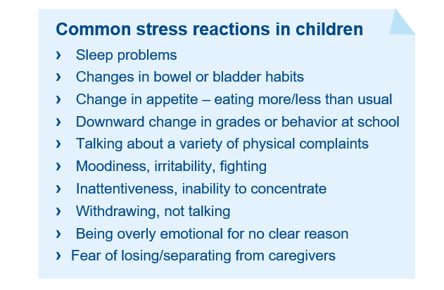 Common stress reactions in children covid19