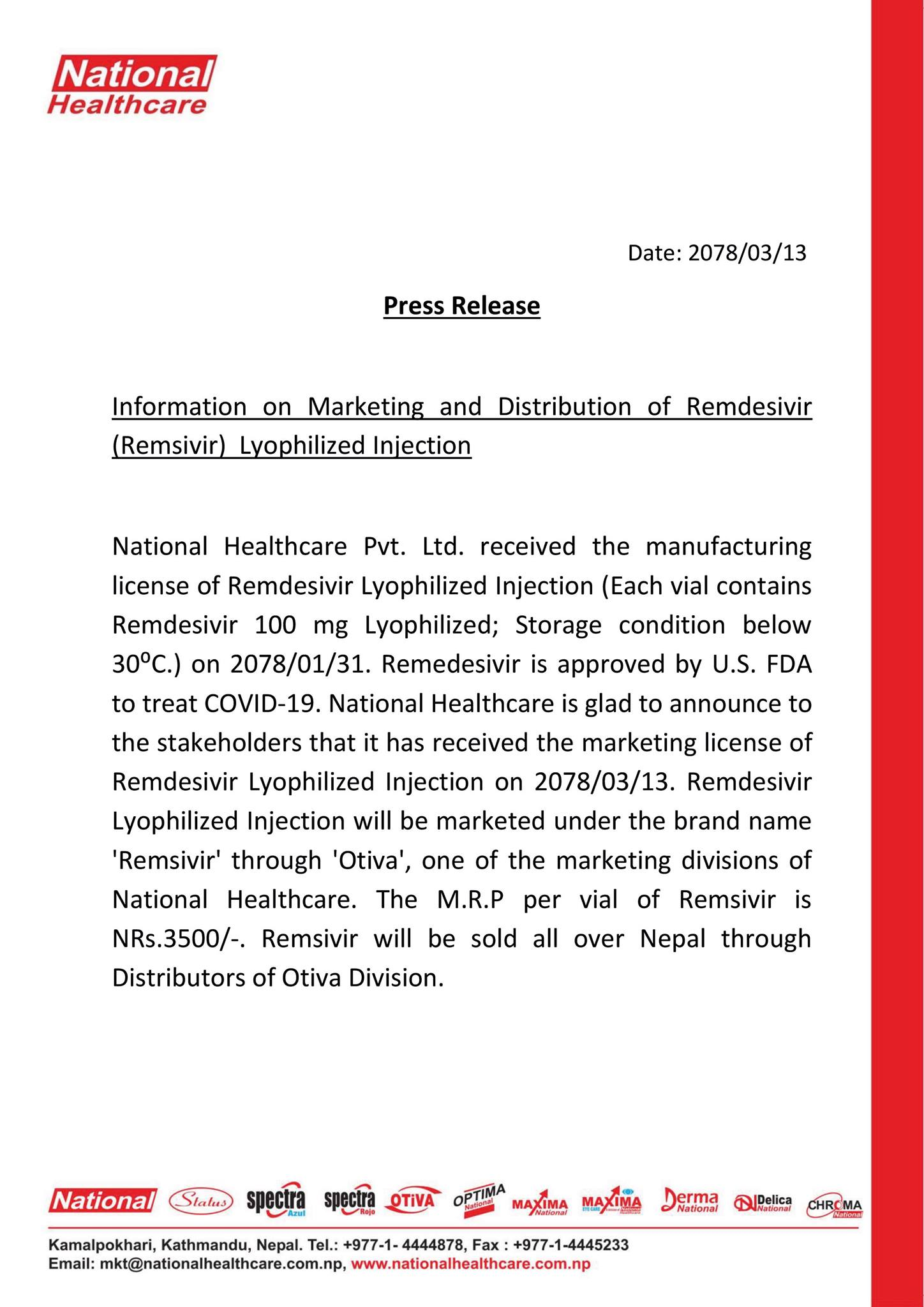 Information on marketing and distribution of Remdesivir lyophilized injection Nepal National healthcare