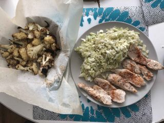 Chicken Breast in Lemon and Oregano Marinade & Melted Butter, Mediterranean Roasted Cauliflower with Parmesan & Fried Cabbage