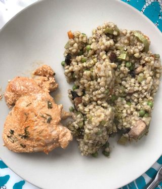 Mediterranean Greek Chicken in Yogurt and Lemon Marinade & Vegetable Buckwheat