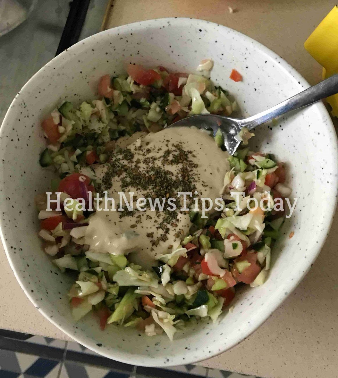 Mediterranean Israeli Organic Salad with Tahini