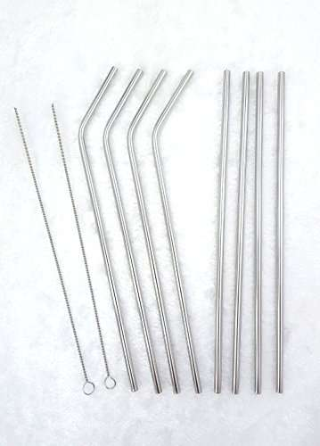 Set of 8 (4 straight and 4 bend) Stainless Steel Drinking Straws Fits for 20 and 30 OZ Yeti Tumbler Rambler Cups With 2 Cleaning Brushes 10.5 inches Long Reusable Metal Drinking Straws