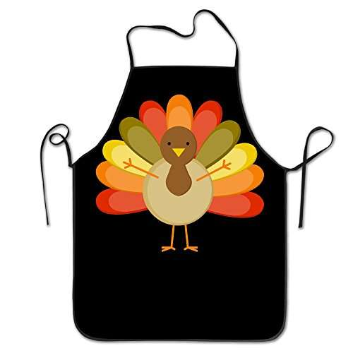 Premium Quality Unisex Kitchen Apron Happy Thanksgiving Turkey Pattern Professional Chefs Bib Apron Ideal To Cook, Bake, And Grill