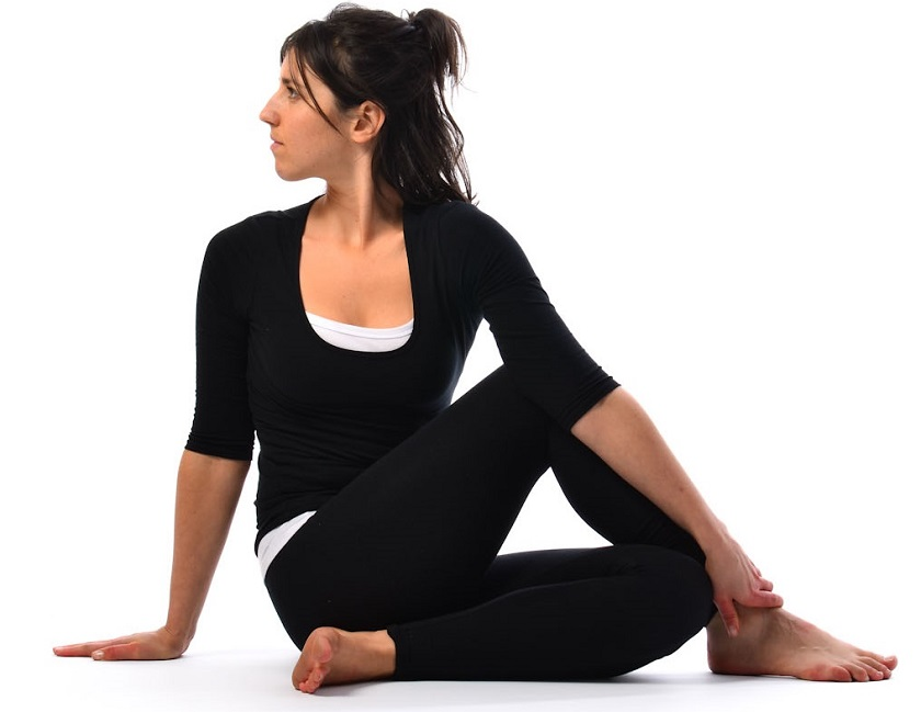 Vakrasana, half spinal twist pose