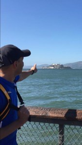 Giovanni pointing to Alcatraz
