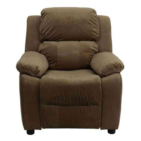 Deluxe Heavily Padded Contemporary Kids Recliner With Storage Arms