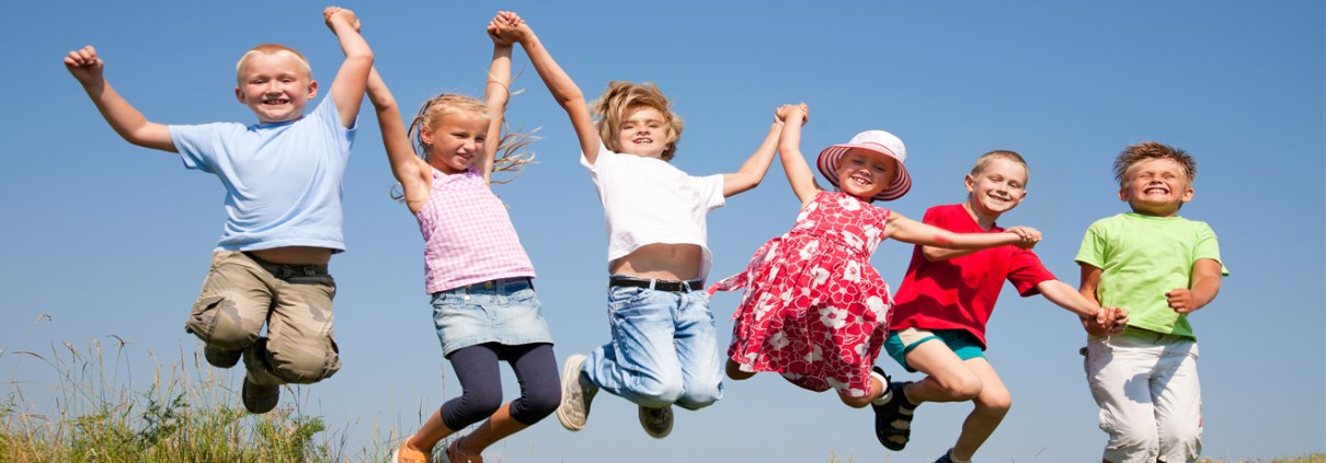 Children jumping in the air