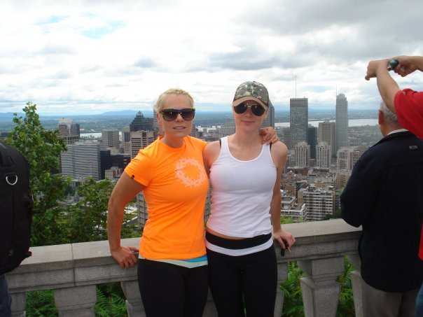 Anna and I hiking while on vacation in Montreal