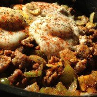 Sausage and Peppers Sweet Potato Hash with Eggs (Paleo)