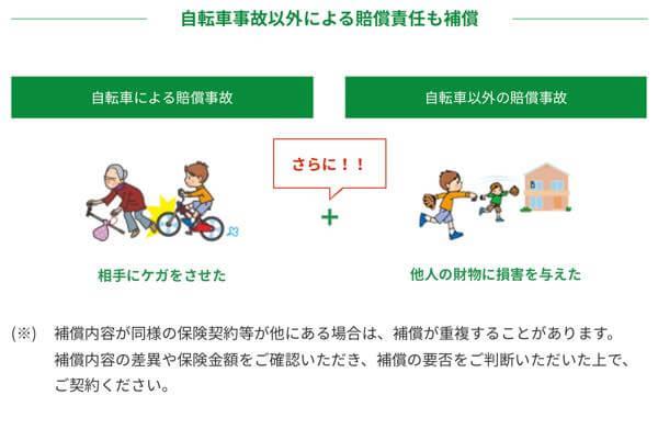 自転車事故以外による賠償責任も補償