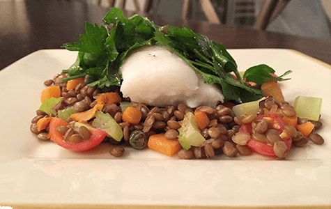 Holiday Cod with Lentils and Salsa