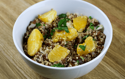 Ensalada de quinua, naranja y almendras