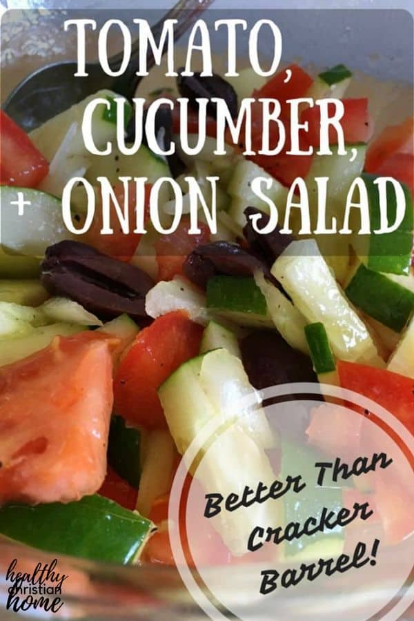 This cucumber tomato onion salad recipe is perfect for any summer picnic!