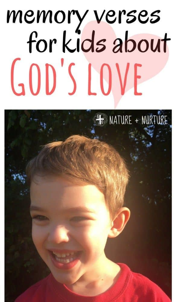 """Little boy smiling in the sunshine with text overlay that says, """"Memory Verses for Kids About God's Love"""""""