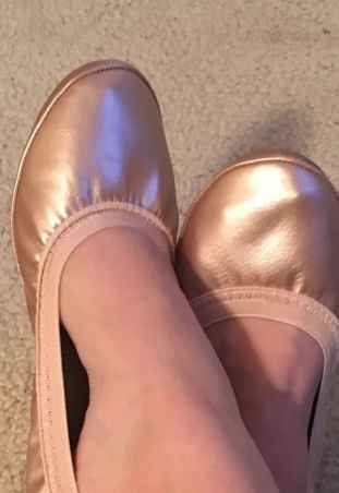 Metallic rose gold flats are perfect for pretty footwear.