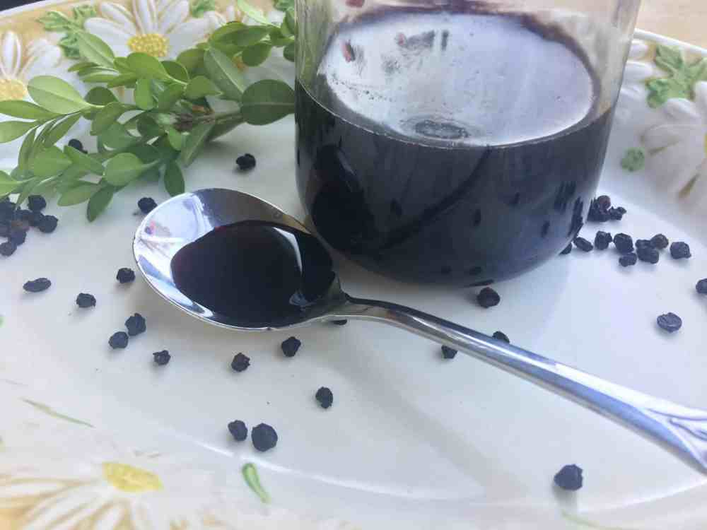 How to Make Elderberry Syrup - elderberry syrup on a spoon and in a glass jar, on a vintage plate with berries and greenery.