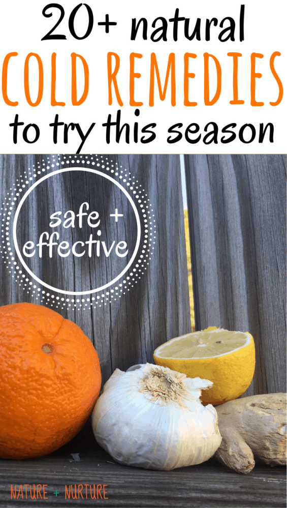 """Home remedies for cold including citrus fruit, garlic, ginger, honey, and essential oils against a wooden backdrop with text overlay reading, """"Natural Cold Remedies to try this season."""""""