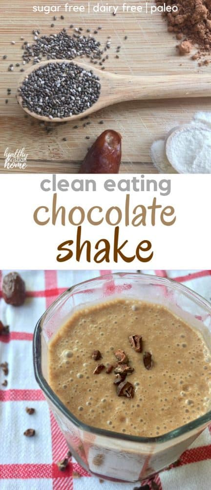 A healthy chocolate smoothie recipe filled with real-food ingredients and zero refined sugar. This healthy chocolate shake will energize you, thanks to it's antioxidant power. Filled with raw cacao powder, coconut milk, dates, and chia seeds, this chocolate smoothie recipe is the perfect wholesome treat.