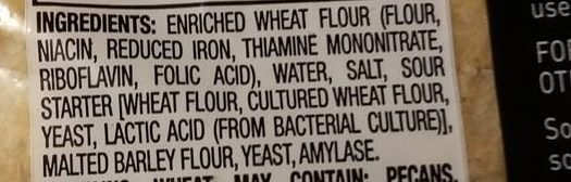 Ingredients list on a loaf of sourdough bread, used to make mini pizza