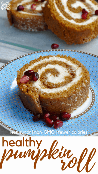 A healthy pumpkin roll recipe with non-GMO flour, less sugar, lighter cream cheese, and fewer calories is just what you need for your holiday table! A few slight alterations make this easy pumpkin roll recipe much healthier and lighter, but it tastes just as good as the original!
