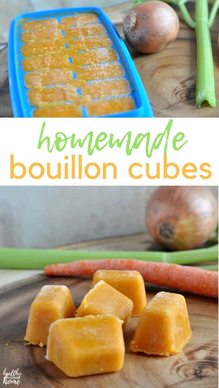 Filled with nourishing ingredients from your stock pot, these easy homemade bouillon cubes will make your favorite recipes taste better than ever!  #healthychristianhome #bouillon #bouilloncubes #homemade #chickenstock #healthyrecipes