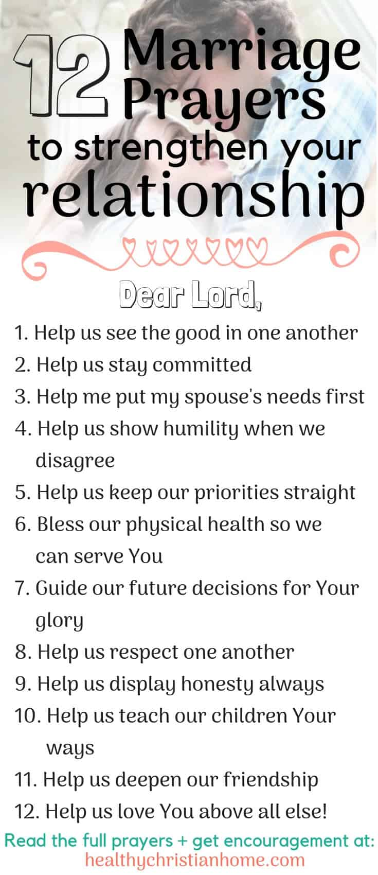 Marriage prayers are a powerful way to invigorate your relationship. Discover 12 of the best prayers for married couples and start praying together today! #marriage #Christianmarriage #relationship #proverbs31woman #Christianwife