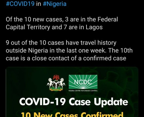 10 New Cases Of Coronavirus In Nigeria