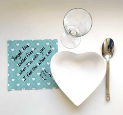 Napkin note to loved one. Ultimate 10 idea Valentine's day Plan #ideavalentine`s #valentine #valentineplan