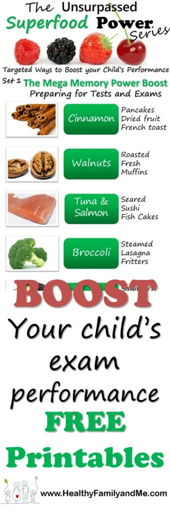 Unsurpassed Superfood Power Series Mega Memory Boost. Targeted ways to boost your child's performance during exam times. Free Printables