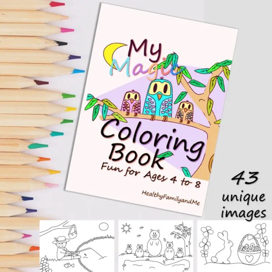 Kids coloring book fun for boys and girls. A beautiful kids coloring book with more than 40 unique images from HealthyFamilyandMe.com