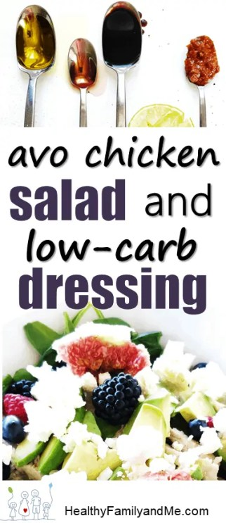 Avocado chicken salad and low carb dressing. Perfect frugal meal for family. #frugalmeal #salad #avochickensalad #lowcarbdressing
