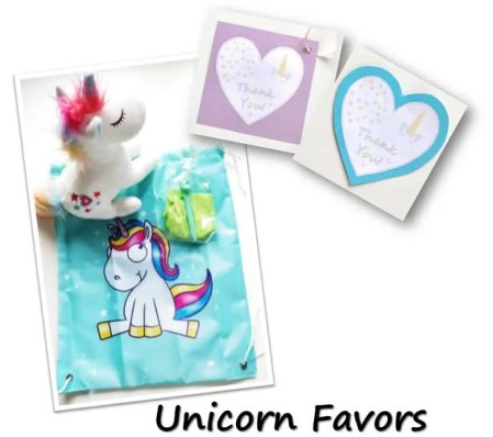 Unicorn favors for Birthday Party with unicorn costume, birthday invitation, treats, unicorn cake, birthday games and birthday favors. #unicornparty #birthdayparty #birthdayfavors #unicorncake #pinata