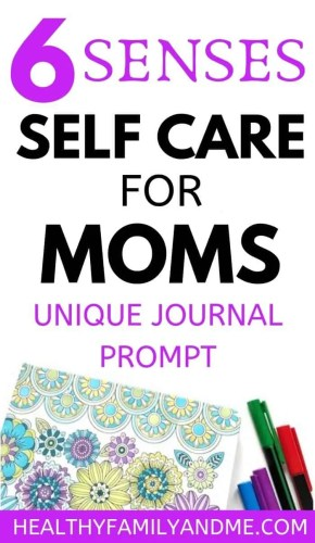 Mom life inspired with journal prompts for moms using 6 sense self care. Bullet journal inspiration for women with free journal templates #journalprompt #momlife #journal #senses #motherhood #selfcare