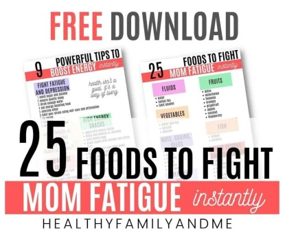 foods to fight fatigue freebie for moms #freeprintable
