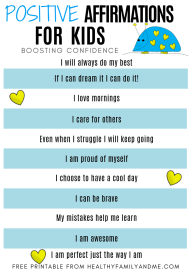 free printable with positive affirmations for kids and cute art