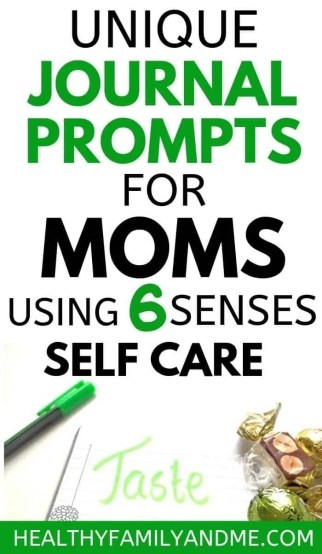 Journal prompts for moms using 6 senses self care method. You will love this journal idea for bullet journal self love and growth. Bullet journal inspiration for moms with free printable #bulletjournal #journalideas #journalprompts #momlife #motherhood
