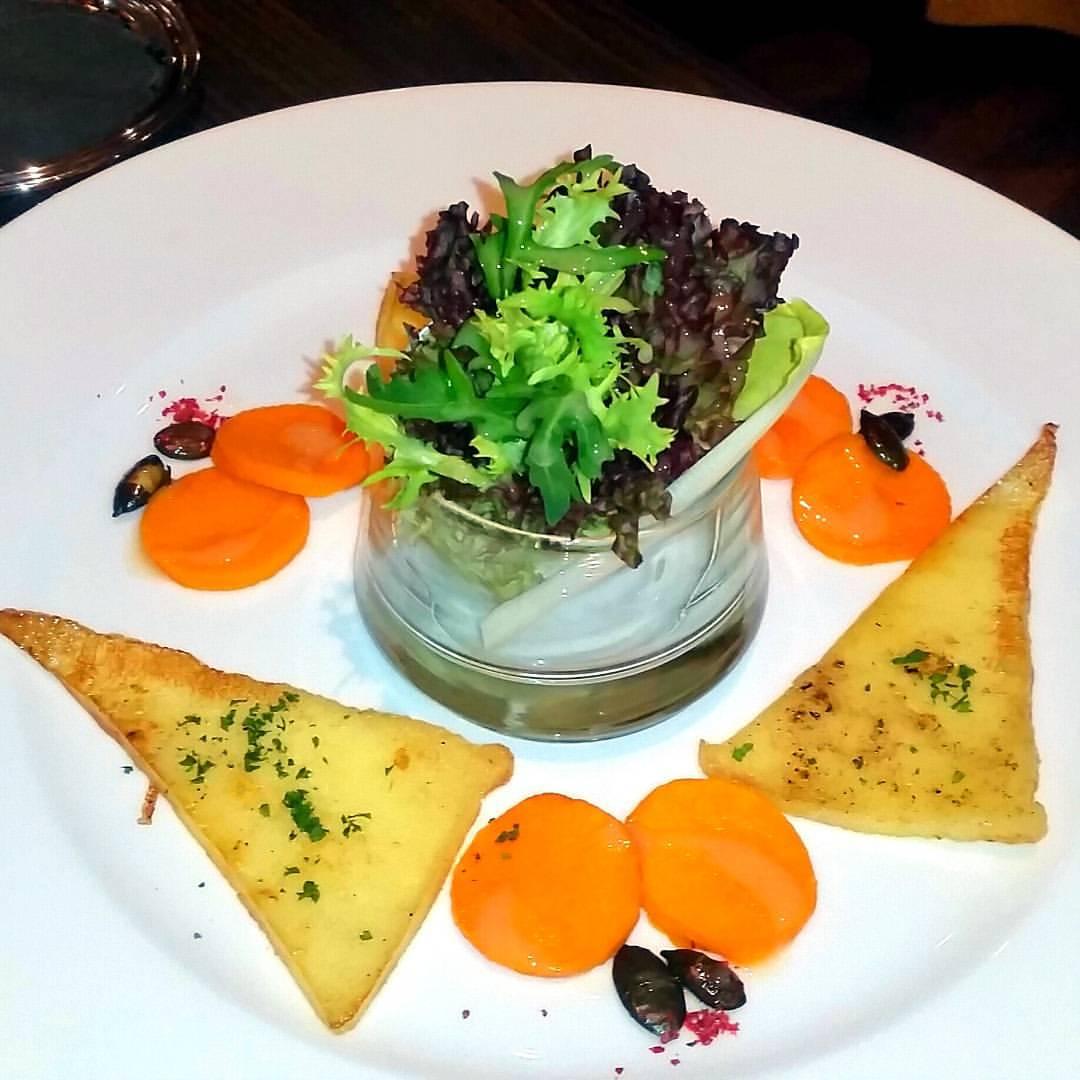 Pumpkin salad with fried swiss cheese, beveldere hotel, switzerland