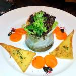 Pumpkin salad with fried swiss cheese, beveldere hotel, switzerland