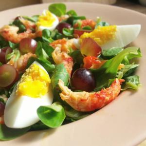 veldsla salade met rivierkreeftjes, ei en druiven 1