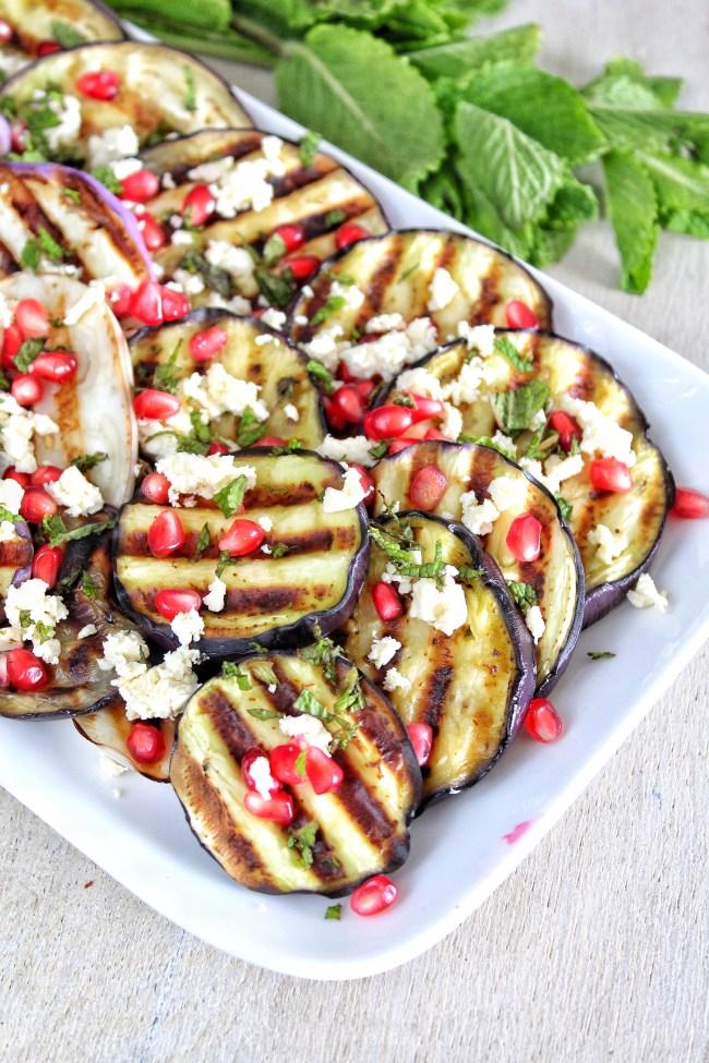 Gegrilde aubergine salade met feta en granaatappel 2