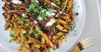 Gebakken curry rijst met shoarma en aubergine frietjes 1